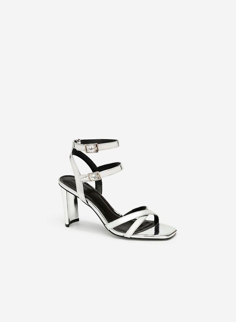 Giày Cao Gót Ankle Strap Metallic - SDN 0637 - Màu Bạc - VASCARA