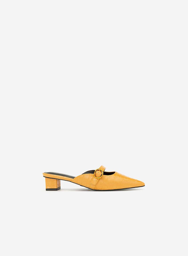Hài Mule Mũi Nhọn Vân Da Cá Sấu - GNN 0139 - Màu Vàng