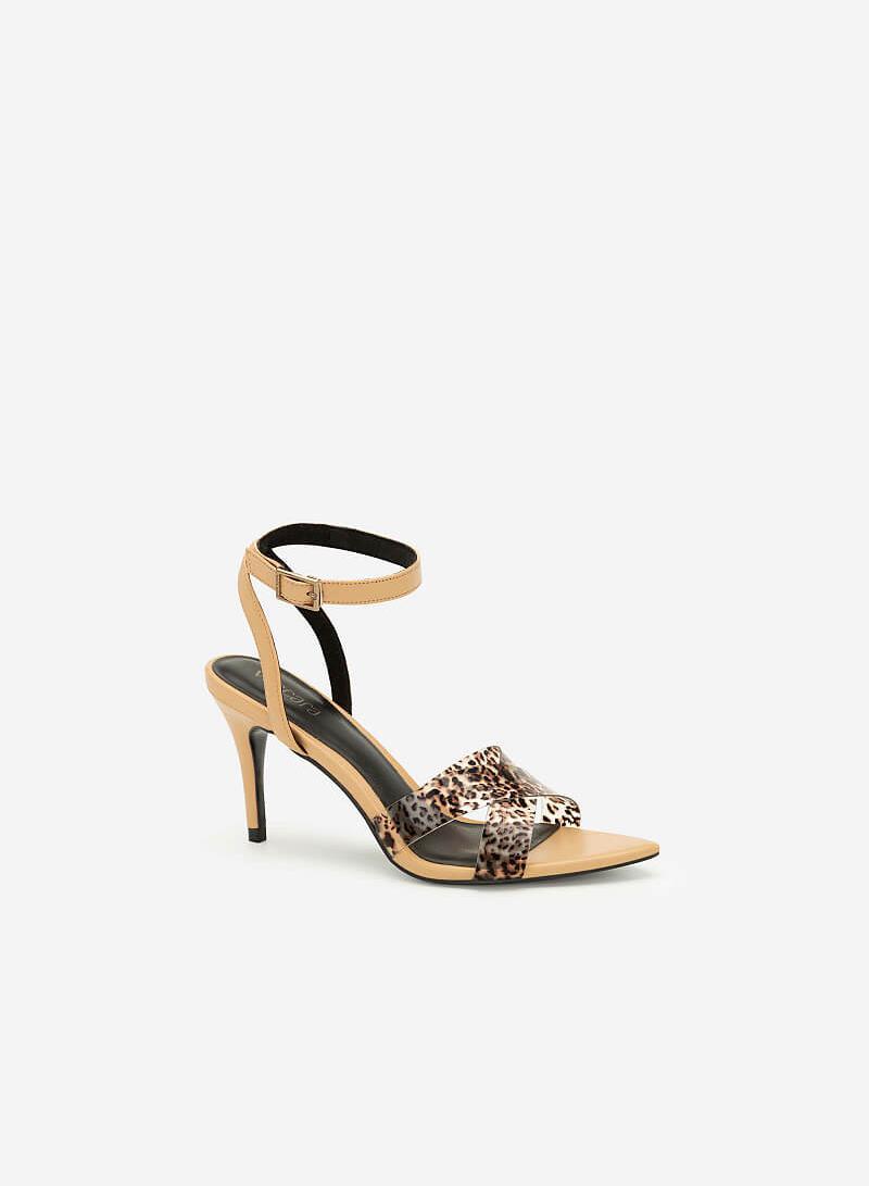 Giày Cao Gót Ankle Strap Họa Tiết Da Báo - SDN 0652 - Màu Be - VASCARA