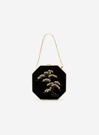 Túi Hộp Gấm Tứ Quý Thêu Họa Tiết Cành Tùng - SHO 0166 - Màu Đen