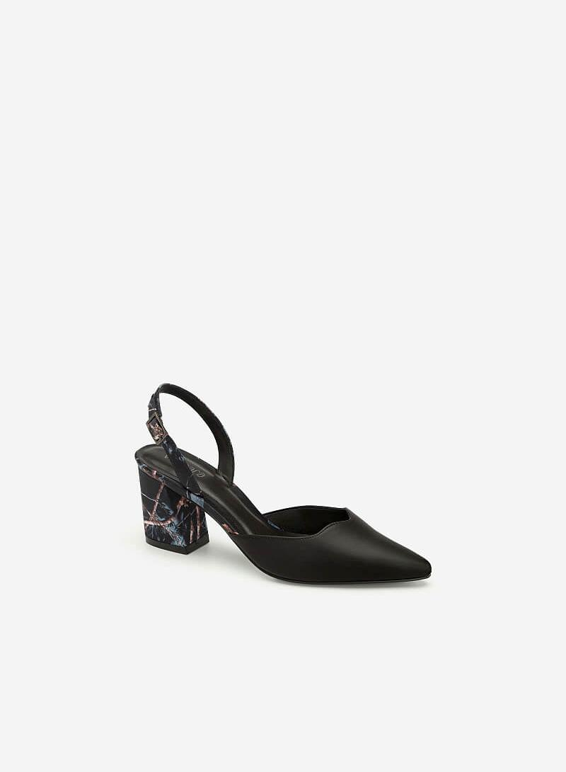 Giày Slingback Mũi Nhọn Họa Tiết Hoa - BMN 0408 - Màu Đen
