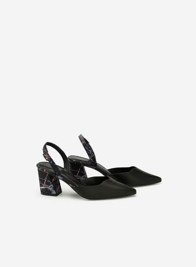 Giày Slingback Mũi Nhọn Họa Tiết Hoa - BMN 0408 - Màu Đen - VASCARA