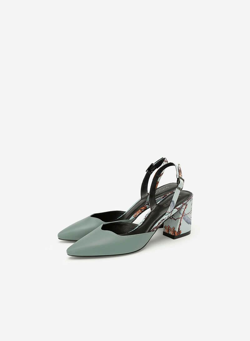 Giày Slingback Mũi Nhọn Họa Tiết Hoa - BMN 0408 - Màu Xanh Da Trời
