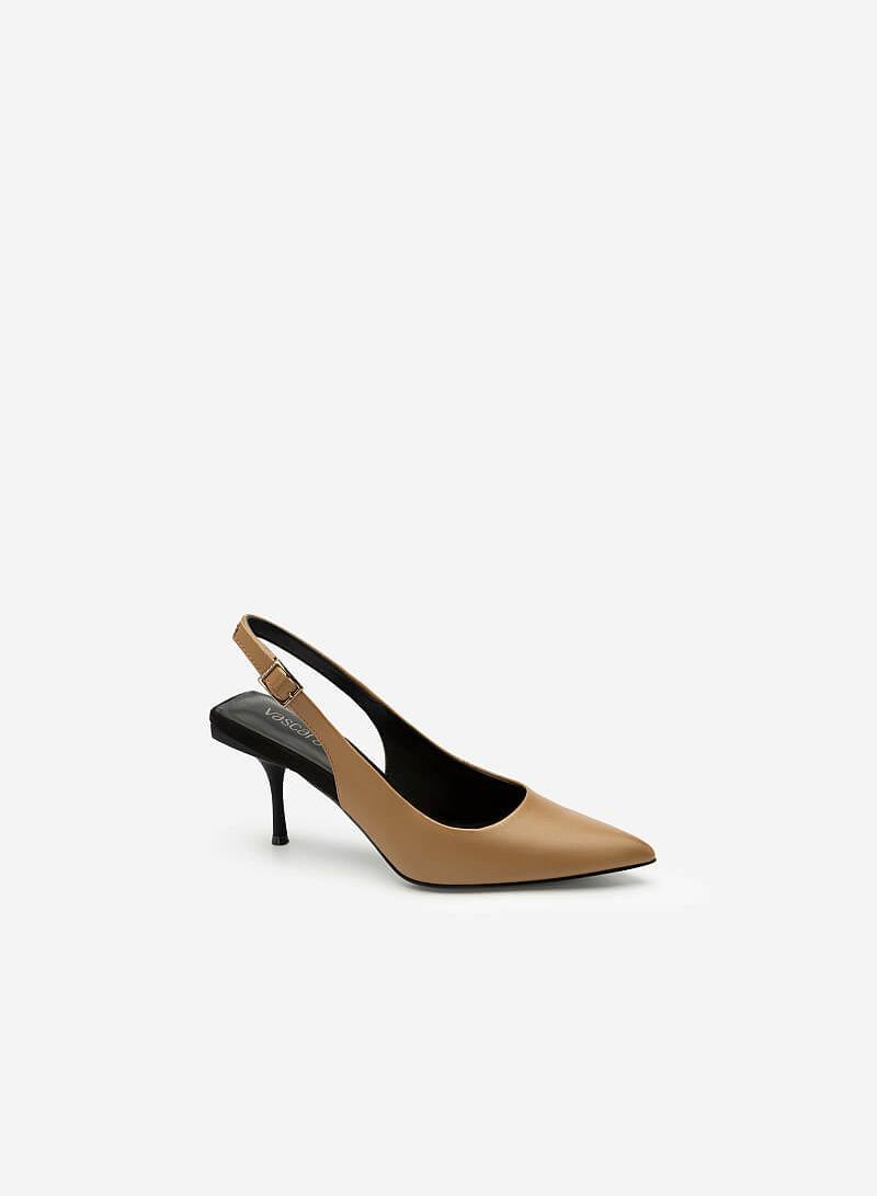 Giày Cao Gót Mũi Nhọn Đế Gót Vuông - BMN 0409 - Màu Be Đậm - VASCARA