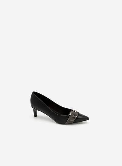 Giày Bít Mũi Nhọn Trang Trí Khóa Cài - BMN 0403 - Màu Đen - vascara.com