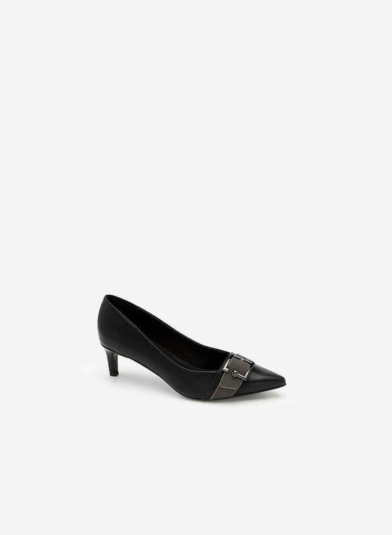 Giày Bít Mũi Nhọn Trang Trí Khóa Cài - BMN 0403 - Màu Đen - VASCARA