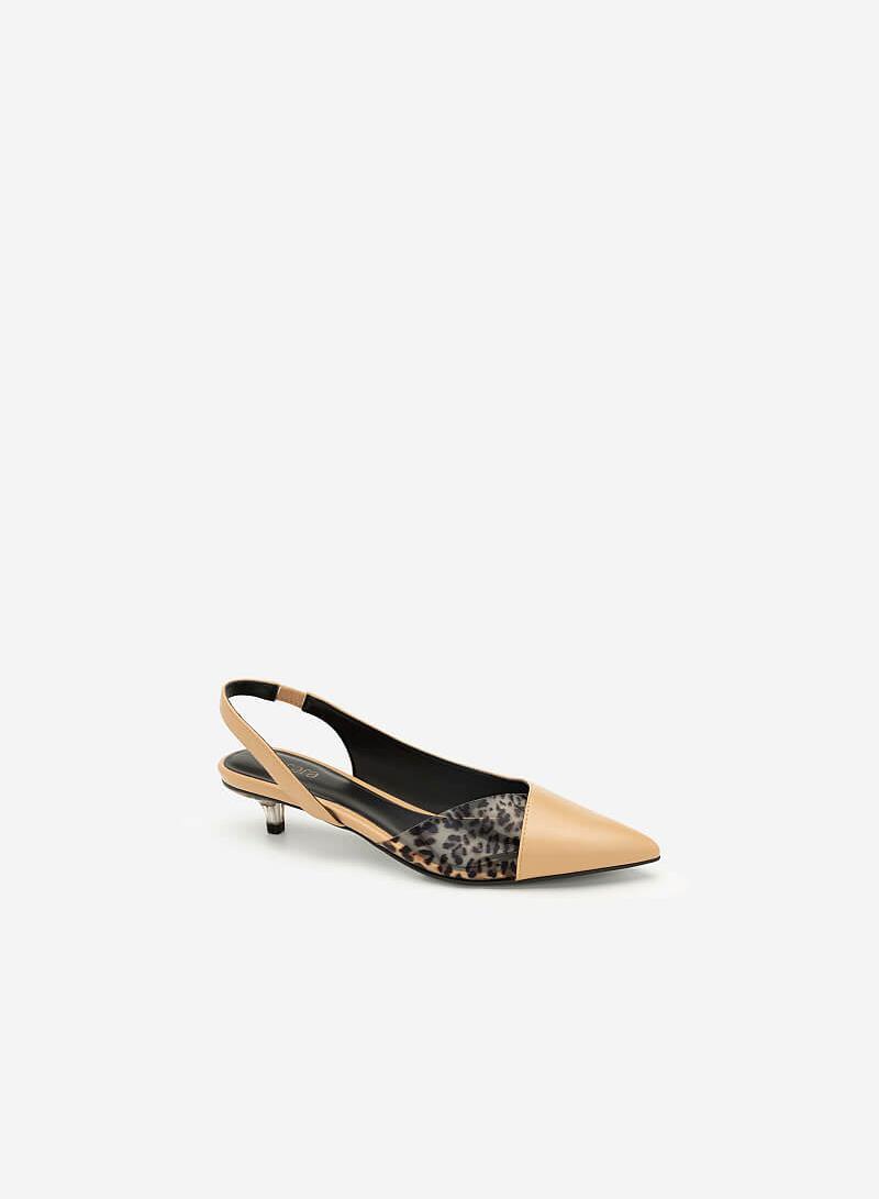Giày Bít Phối Họa Tiết Da Báo - BMN 0394 - Màu Be - VASCARA