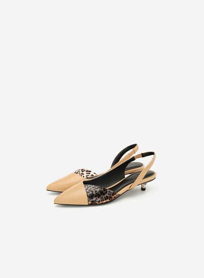 Giày Bít Phối Họa Tiết Da Báo - BMN 0394 - Màu Be