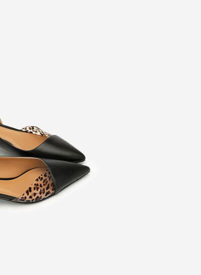 Giày Bít Phối Họa Tiết Da Báo - BMN 0394 - Màu Đen - VASCARA