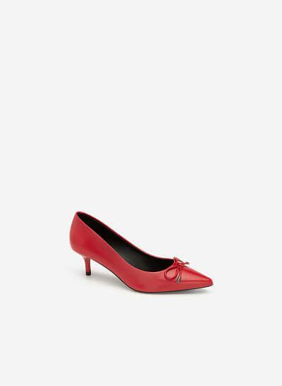 Giày Bít Mũi Nhọn Đính Nơ Thanh Lịch - BMN 0391 - Màu Đỏ Đậm