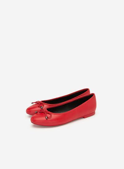 Giày Búp Bê Đính Nơ - GBB 0414 - Màu Đỏ - VASCARA