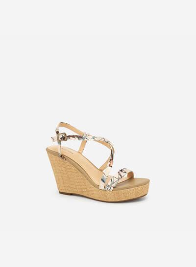 Giày Đế Xuồng Quai Họa Tiết Hoa - SDX 0412 - Màu Be Đậm