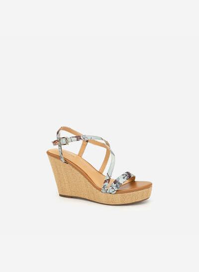 Giày Đế Xuồng Quai Họa Tiết Hoa - SDX 0412 - Màu Xanh Da Trời