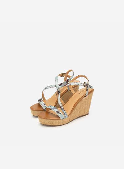 Giày Đế Xuồng Quai Họa Tiết Hoa - SDX 0412 - Màu Xanh Da Trời - VASCARA