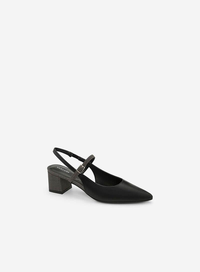 Giày Slingback Gót Trụ BMN 0334 - Màu Đen - VASCARA