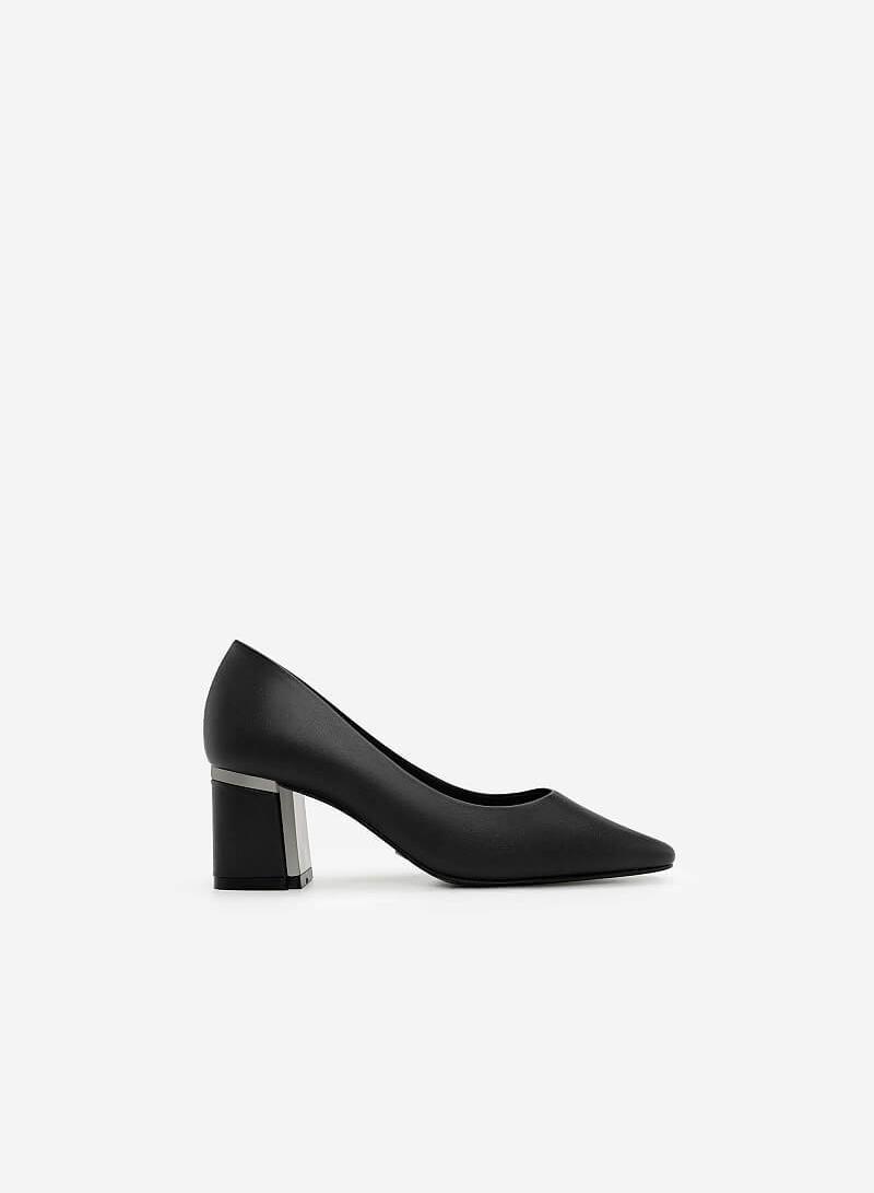 Giày Gót Vuông Phối Metallic - BMN 0332 - Màu Đen - VASCARA