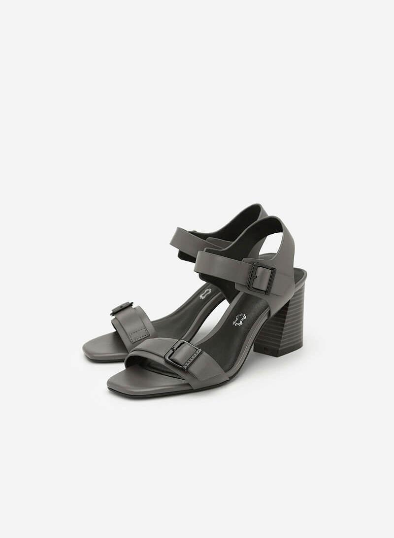 Giày Sandal Quai Ngang Phối Khóa - SDN 0628 - Màu Xám - VASCARA