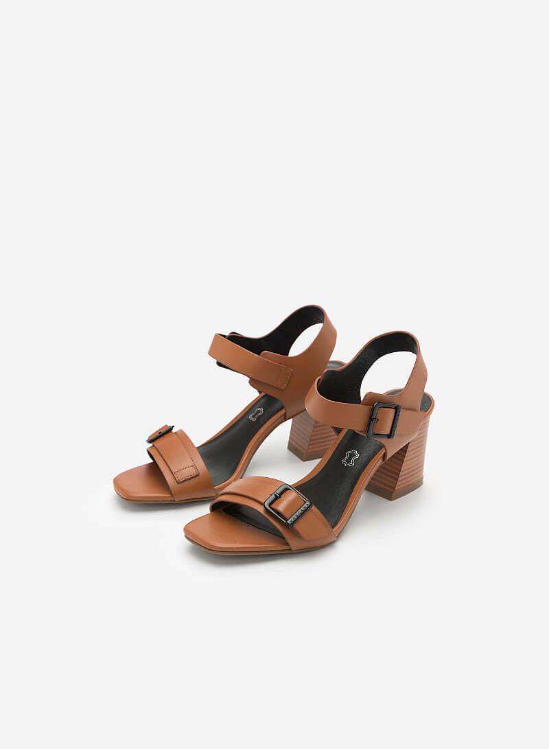 Giày Sandal Quai Ngang Phối Khóa - SDN 0628 - Màu Nâu - vascara.com