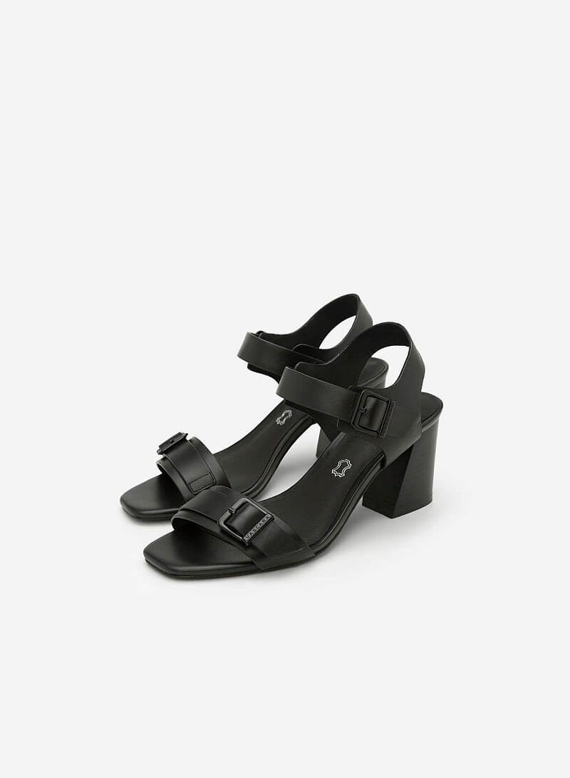 Giày Sandal Quai Ngang Phối Khóa - SDN 0628 - Màu Đen - vascara