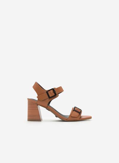 Giày Sandal Quai Ngang Phối Khóa - SDN 0628 - Màu Nâu - VASCARA