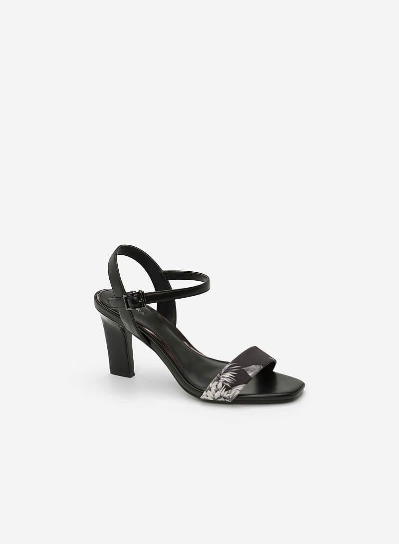 Giày Sandal Họa Tiết Nhiệt Đới - SDN 0631 - Màu Đen - VASCARA