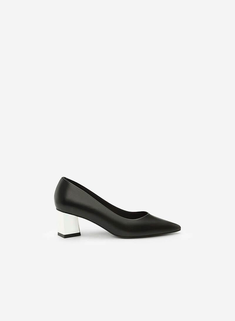 Giày Gót Trụ Metalic - BMN 0339 - Màu Đen - VASCARA
