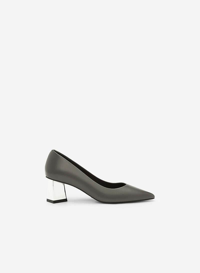 Giày Gót Trụ Metalic - BMN 0339 - Màu Xám - vascara