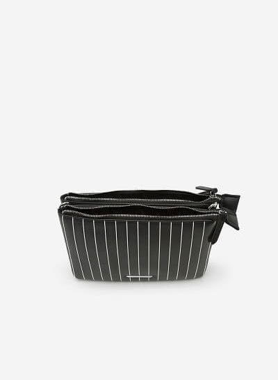 Túi Đeo Chéo Họa Tiết Kẻ Sọc - SHO 0128 - Màu Đen - VASCARA