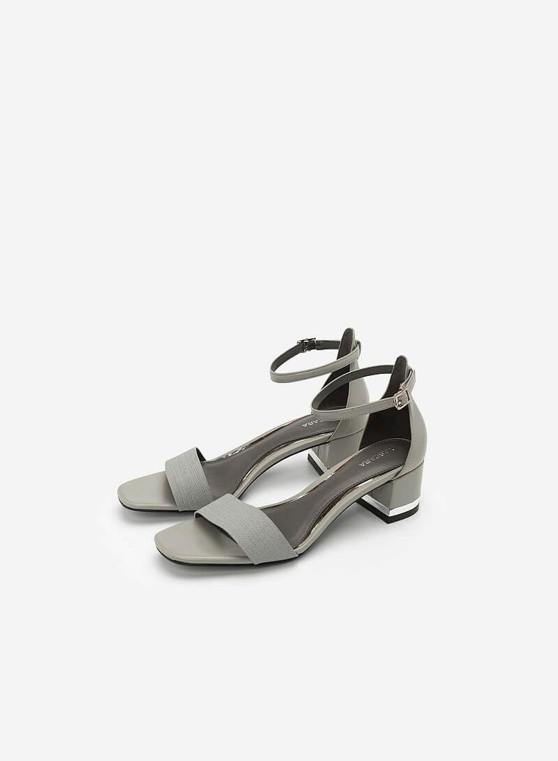 Giày Sandal Gót Vuông Quai Cổ Chân - SDN 0629 - Màu Xám - VASCARA