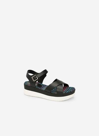 Giày Sandal Đế Xuồng Ánh Kim - SDX 0398 - Màu Đen - VASCARA