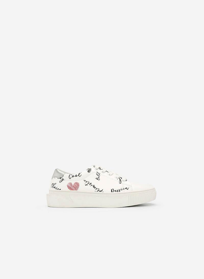 Giày Sneaker In Họa Tiết - SNK 0020 - Màu Trắng - vascara