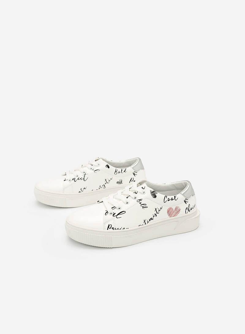 Giày Sneaker In Họa Tiết - SNK 0020 - Màu Trắng