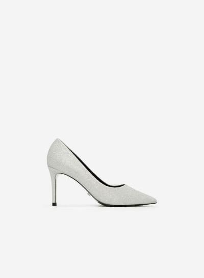 Giày Cao Gót Mũi Nhọn Sequin - BMN 0330 - Màu Bạc