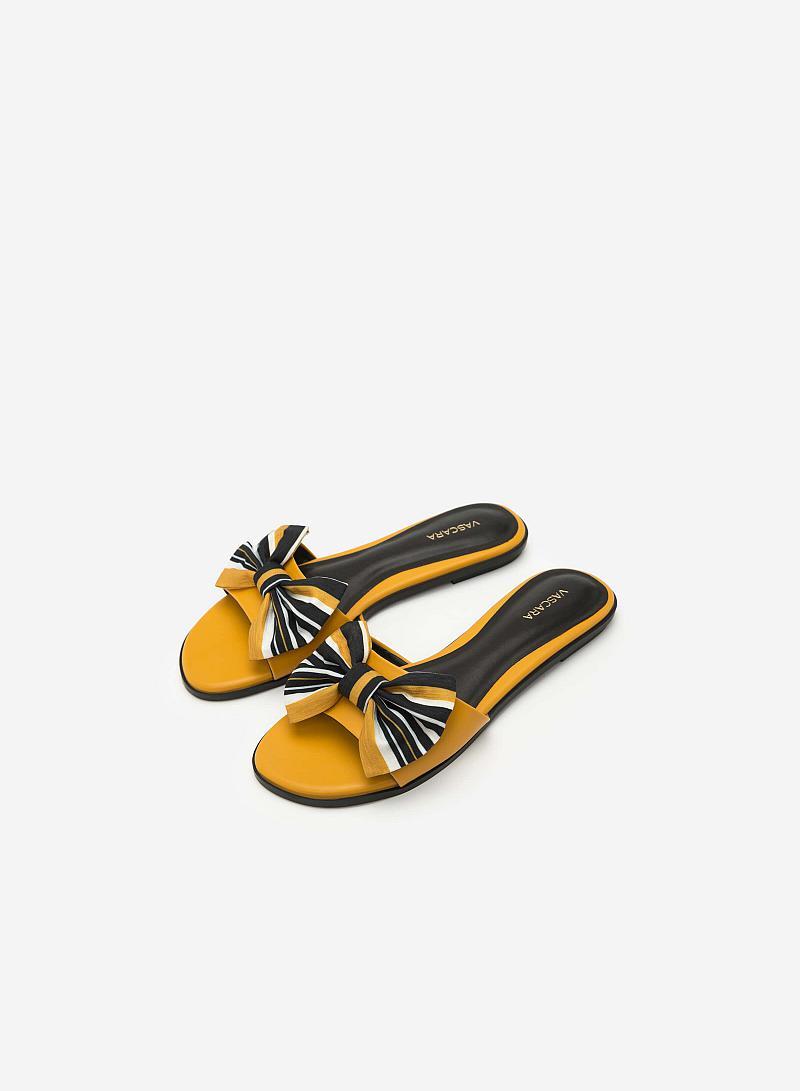 Dép Đế Bệt Đính Nơ - DXP 0133 - Màu Vàng - VASCARA
