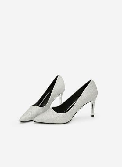 Giày Cao Gót Mũi Nhọn Sequin - BMN 0330 - Màu Bạc - VASCARA