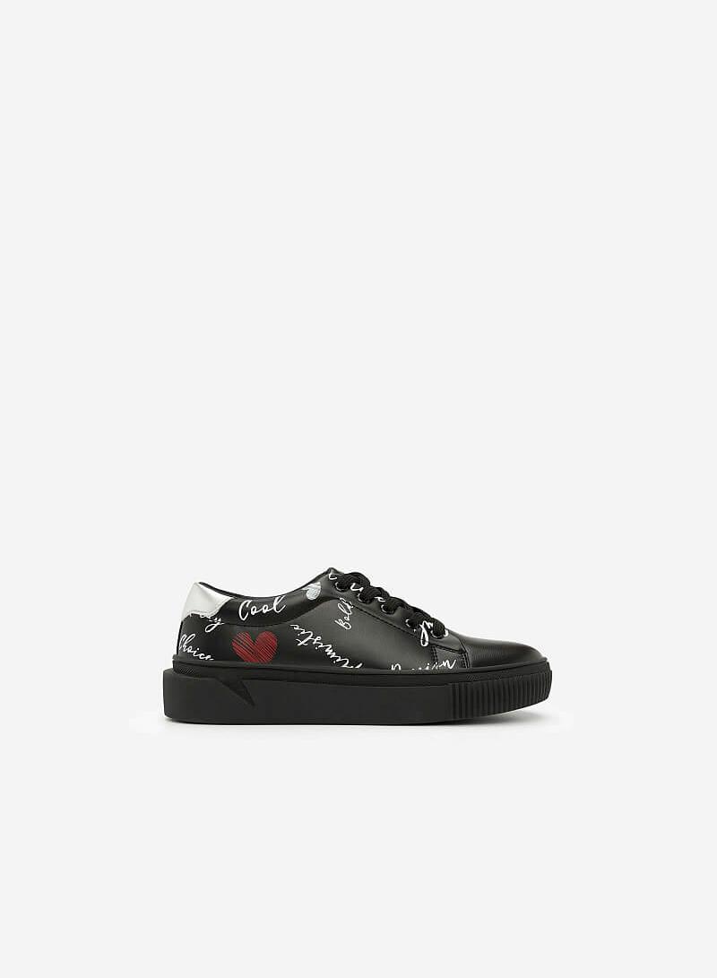 Giày Sneaker In Họa Tiết - SNK 0020 - Màu Đen - vascara