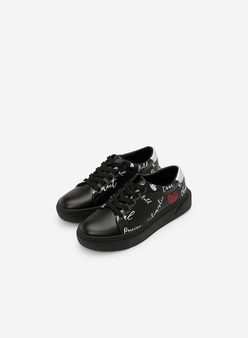 Giày Sneaker In Họa Tiết - SNK 0020 - Màu Đen