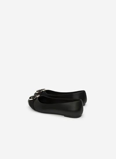 Giày Búp Bê Phối Khóa Cài - GBB 0407 - Màu Đen - VASCARA