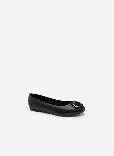Giày Búp Bê Mũi Tròn Phối Khóa Cài - GBB 0411 - Màu Đen - VASCARA