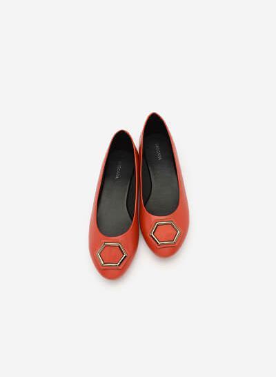 Giày Búp Bê Mũi Tròn Phối Khóa Cài - GBB 0411 - Màu Cam Đậm - VASCARA
