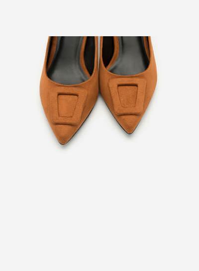 Giày Cao Gót Bít Mũi Nhọn Nubuck - BMN 0366 - Màu Nâu - VASCARA
