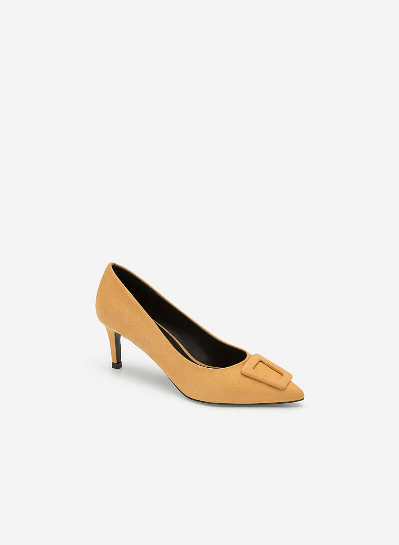 Giày Cao Gót Bít Mũi Nhọn Nubuck - BMN 0366 - Màu Vàng - VASCARA