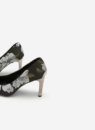 Giày Cao Gót Bít Mũi Hoa Đỗ Quyên - BMN 0358 - Màu Xanh Rêu - VASCARA
