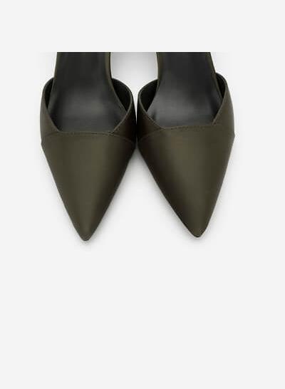 Giày Ankle Strap Satin - BMN 0359 - Màu Xanh Rêu - VASCARA