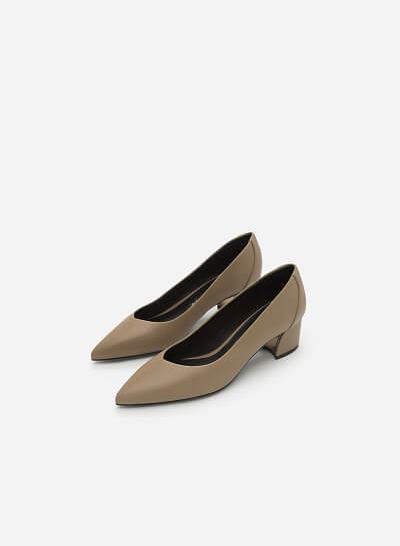 Giày Bít Mũi Nhọn Gót Vuông - BMN 0354 - Màu Be Đậm - VASCARA