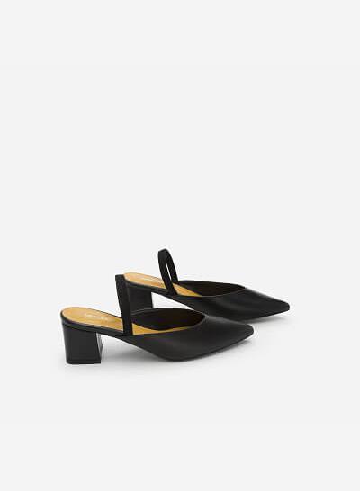 Giày Slingback Gót Vuông - BMN 0347 - Màu Đen - VASCARA