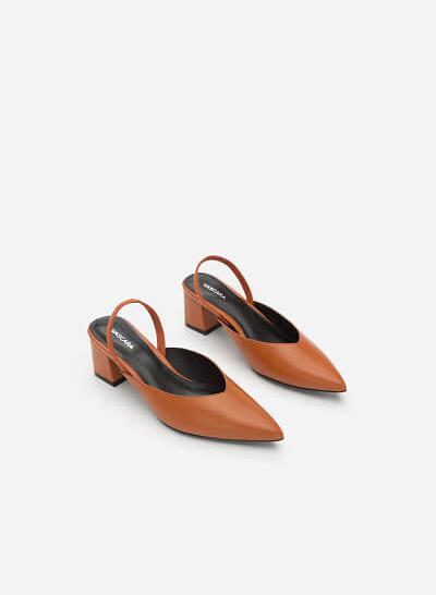 Giày Slingback Gót Vuông - BMN 0347 - Màu Cam Đậm - VASCARA