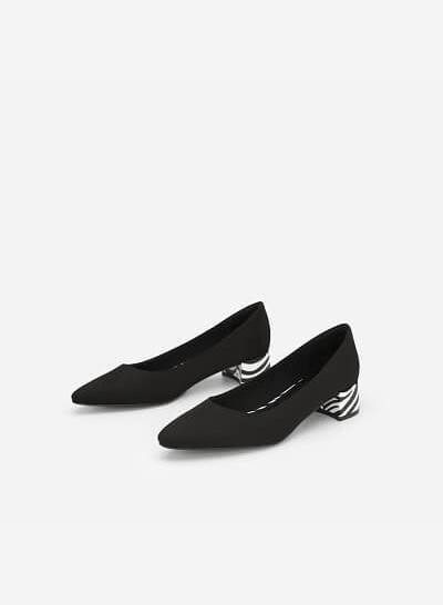 Giày Bít Gót Vuông Phối Họa Tiết Ngựa Vằn - BMN 0355 - Màu Đen - VASCARA