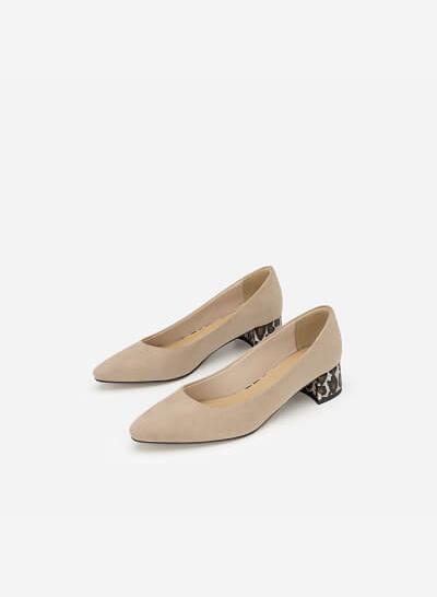 Giày Bít Gót Vuông Phối Họa Tiết Da Báo - BMN 0355 - Màu Be Đậm - VASCARA
