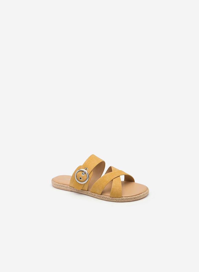 Dép Đế Bệt Viền Cói Phối Da Nubuck - DXP 0139 - Màu Vàng - VASCARA
